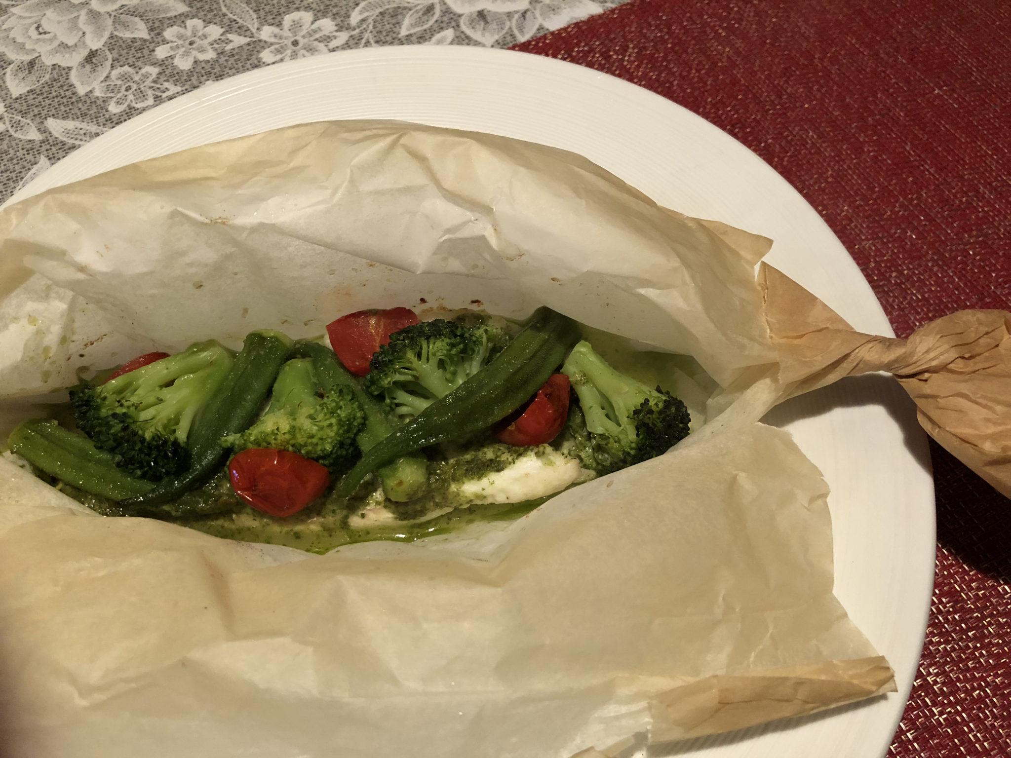本日の魚と温野菜のカルトッチョ